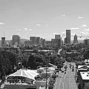 Portland Skyline Black And White Poster