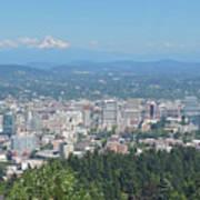 Portland Skyline With Mount Hood Poster