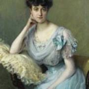Portrait Of A Young Woman In A Blue Dress Poster