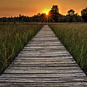 Prairie Boardwalk Sunset Poster