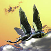 Psychedelic Metal Sculpture Of Two Swans Flying Poster