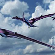 Pterodactyls In Flight Poster
