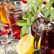 Rosehip Tea With Honey And Lemon In Glass Poster