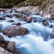 Slow Shutter Photo Of Figarella River At Bonifatu In Corsica Poster