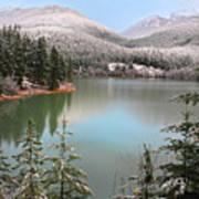 Snowy Green Lake Sunset Whistler B.c Canada Poster