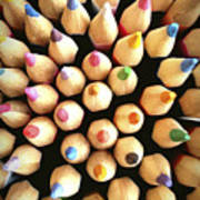 Stack Of Colored Pencils Poster