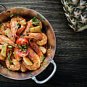 Stir Fry Prawns In Spicy Asian Pineapple And Herbs Sauce Poster