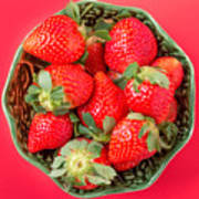 Strawberries In A Wooden Bowl On The Old Wooden Table Poster