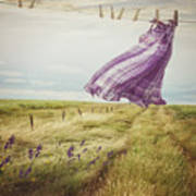 Summer Dress Blowing On Clothesline With Girl Walking Down Path Poster