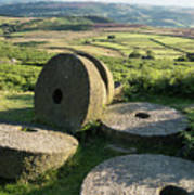 Summer Landscape Image Of Millstones On Top Of Stanage Edge In P Poster