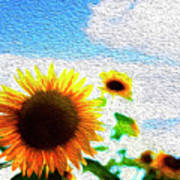 Sunflowers Abstract Poster