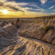 Sunset Over Walls Of China In Mungo National Park, Australia Poster