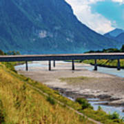 The Alte Rheinbrucke Across The River Rhine Between Liechtensti Poster