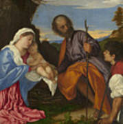 The Holy Family With A Shepherd Poster