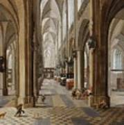 The Interior Of The Onze Lieve Vrouwekerk In Antwerp Poster