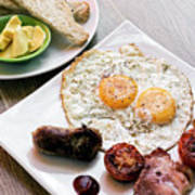 Traditional English British Fried Breakfast With Eggs Bacon And  Poster