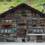 Traditional Swiss Alps Houses In Vals Village Alpine Switzerland Poster