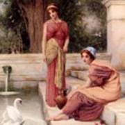 Two Classical Maidens And A Swan Henry Ryland Poster