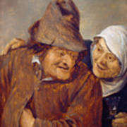 Two Peasants With A Glass Of Wine Poster