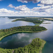 View Of Small Islands On The Lake In Masuria And Podlasie  Poster