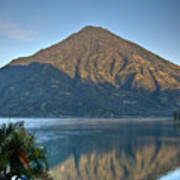 Volcano And Reflection Lake Atitlan Guatemala Poster