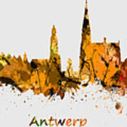 Watercolor Art Print Of The Skyline Of Antwerp In Belgium Poster