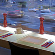 Window Seating In An Upscale Cafe Poster
