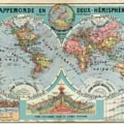 World Map In Two Hemispheres  Poster