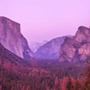 Yosemite Pink Sunset Poster