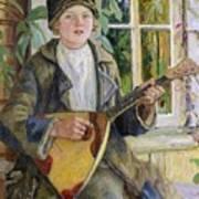 Young Boy With A Balalaika Nikolai Petrovich Bogdanov-belsky Poster