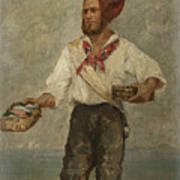 Young Fisherman In The Gulf With Capri At A Distance Poster