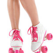 Young Woman Wearing Roller Derby Skates Poster