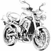 2011 Triumph Street Triple, Black And White Motorcycle Poster