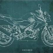 2018 Honda Cb300f Abs Blueprint Green Background Poster
