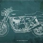 2018 Triumph Thruxton 1200 Blueprint Green Background Poster