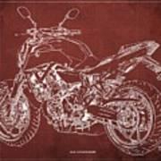 2018 Yamaha Mt-07 Blueprint - Red Background Poster