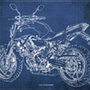 2018 Yamaha Mt07,blueprint,blue Background,fathers Day Gift, 2018 Poster