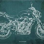 2018 Yamaha Mt07,blueprint,green Background,fathers Day Gift,2018 Poster