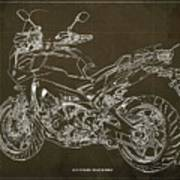 2018 Yamaha Tracer 900gt Blueprint Brown Background Two Wheels Move The Soul Poster