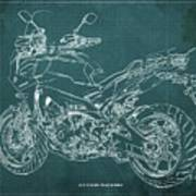 2018 Yamaha Tracer 900gt Blueprint Green Background Poster