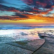 Sunrise Seascape And Rock Platform Poster