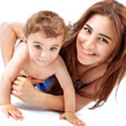 Happy Mother With Baby Poster