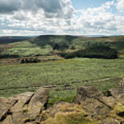 Beautiful Vibrant Landscape Image Of Burbage Edge And Rocks In S Poster
