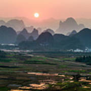 Karst Mountains Scenery In Sunset Poster