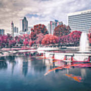 Charlotte North Carolina Cityscape During Autumn Season Poster