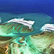 Aerial View Of The Underwater Channel. Mauritius Poster