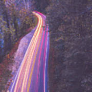 Automobile Traffic Long Exposure At Dusk In Pisgah National Park Poster