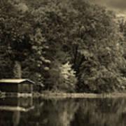 Autumn Lake Boathouse Poster