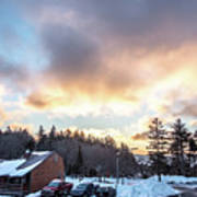 Beautiful Sunrise Over Horizon On Snowshoe Mountain West Virgini Poster