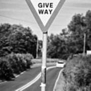 Bilingual English And Welsh Give Way Sign Anglesey Wales Uk Poster